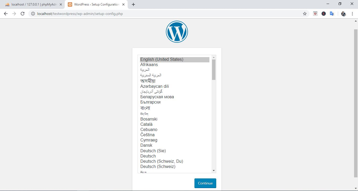 Select language wordpress